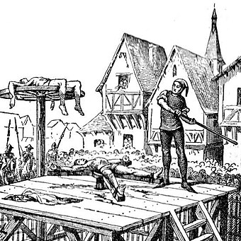 The breaking wheel was used during the Middle Ages and was still in use into the 19th century. Lamanie kolem L 001xx.jpg