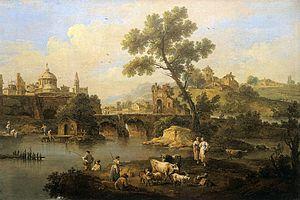 Giuseppe Zais - Landscape with River and Bridge, c. 1740. Gallerie dell'Accademia, Venice