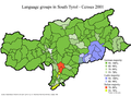 Language distribution in South Tyrol, Italy 2001.png