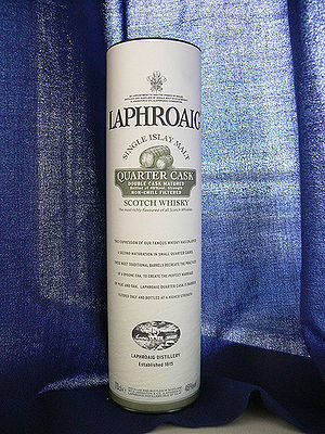 Laphroaig Single Malt Whiskey in its case