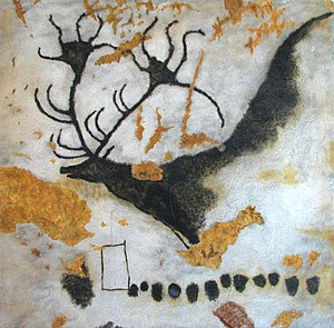 Paint - A charcoal and ochre cave painting of Megaloceros from Lascaux, France