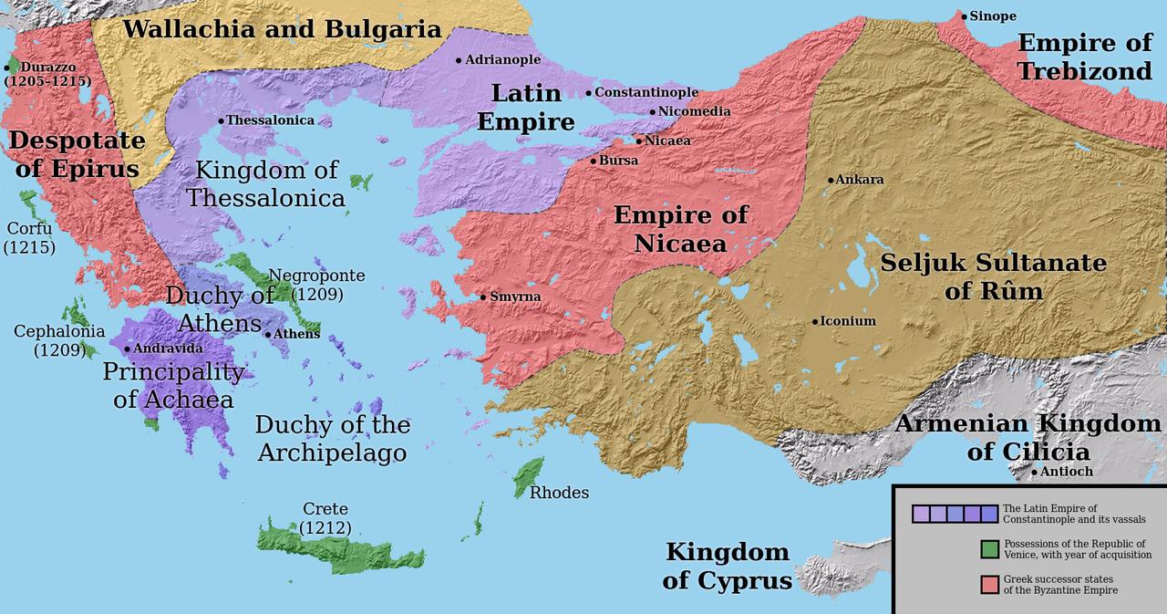 El Imperio latino con sus vasallos y el sucesor griego declara después de la partición del Imperio Bizantino, c.  1204. Las fronteras son muy inciertas.