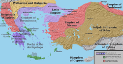 The Latin Empire, Empire of Nicaea, Empire of Trebizond, and the Despotate of Epirus (note: the borders are very uncertain).