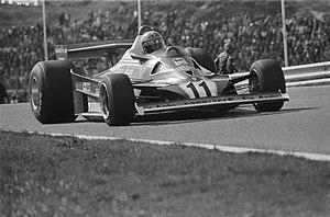 1977 Dutch Grand Prix - Lauda during the race in his Ferrari 312T.