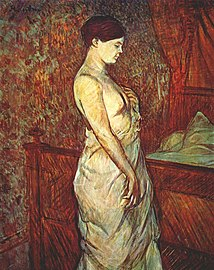Lautrec le coucher (mme poupoule in chemise by her bed) 1899.jpg