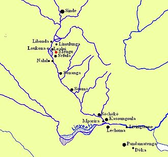 Barotseland - Map showing the principal towns of Barotseland