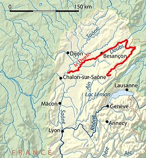 Doubs (river) - Course of the Doubs