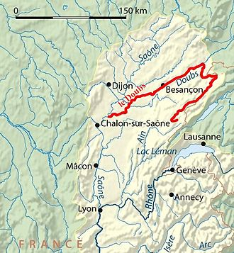 January 1910 Doubs river flood - Location of Doubs river