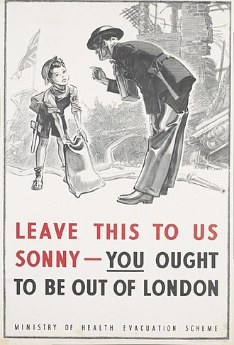 Evacuations of civilians in Britain during World War II - The UK Ministry of Health advertised the evacuation programme through posters, among other means. The poster depicted here was used in the London Underground.