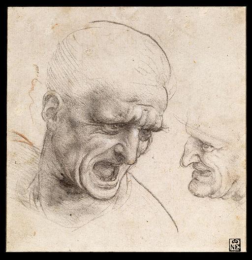 Leonardo da Vinci - Study of Two Warriors' Heads for the Battle of Anghiari - Google Art Project