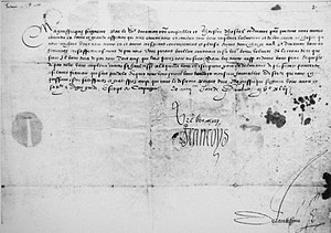 Claude de l'Aubespine, baron de Châteauneuf - Letter of Francis I to the Ottoman Drogman Janus Bey, 28 December 1546, delivered by D'Aramon. The letter is countersigned by the State Secretary Claude de L'Aubespine (bottom right corner).