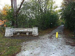 Green Bay Trail - Limestone Bench designed by landscape architect Jen Jensen at Glencoe Trail Head, Heading North towards Highland Park