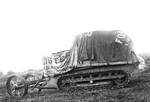 Little Willie - The No1 Lincoln Machine, with lengthened Bullock tracks and Creeping Grip tractor suspension, September 1915