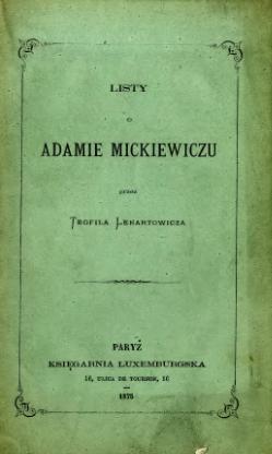 Listy O Adamie Mickiewiczucałość Wikiźródła Wolna Biblioteka