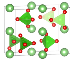 The orthorhombic unit cell of lithium perchlorate under standard conditions.