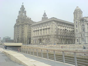 Liverpool Canal Link - The finished canal running in front of the Liver Buildings, April 2009