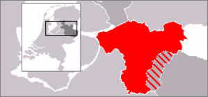 Salland - The location of the historical dominion Salland (red and red-grey) within Overijssel (dark grey) and the Netherlands (light grey); the red-grey area belongs to the city region of Twente.