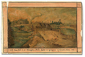 Kingston Mills - Locks under construction at the Saw Mill at Kingston Mills, 1830. Watercolor by Thomas Burrowes
