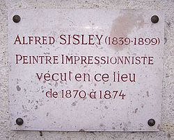 Photo of Alfred Sisley stone plaque