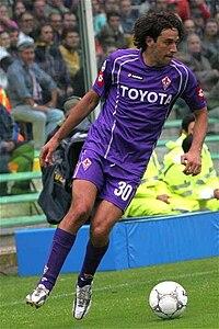 Luca Toni con la maglia della Fiorentina