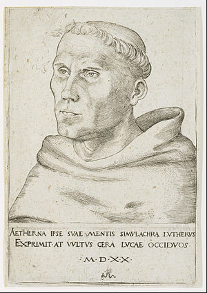 Martin Luther - Luther as a friar, with tonsure.