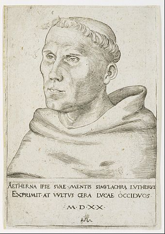 Luther as a friar, with tonsure Lucas Cranach the Elder - Martin Luther, Bust in Three-Quarter View - Google Art Project.jpg