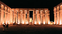Luxor, Luxor Temple, inside, at night, Egypt, Oct 2004.jpg