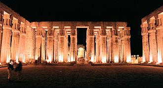 Luxor, Luxor Temple, inside, at night, Egypt, Oct 2004.jpg