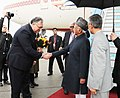 M. Hamid Ansari being received by the Minister of State for Cultural and Scientific Diplomacy, Hungary, Mr. Istvan Ijgyarto, on his arrival, at Budapest Ferenc Liszt International Airport, in Budapest, Hungary.jpg