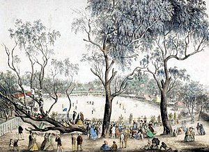 Intercolonial cricket in Australia - The Melbourne Cricket Ground in 1864.