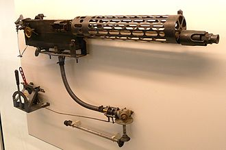 MG 08 - A later production version of the lMG 08 on display, with less slotting than the initial version. There is a synchronization gear and triggering assembly included below the gun.