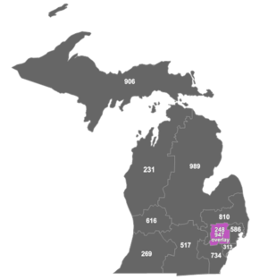 Area codes 248 and 947 - Map of area codes 248 and 947 in Michigan.