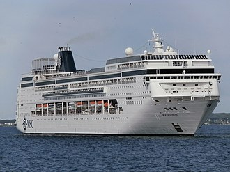 MSC Cruises - Image: MSC Sinfonia turning to Starboard Side Tallinn 27 May 2015