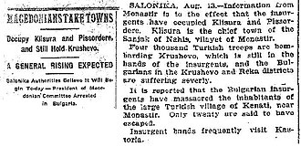 Kruševo Republic - The events in Kruševo as seen by the American New York Times; Aug. 14, 1903.