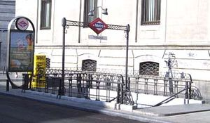 Madrid Metro - Typical Madrid metro entrance, designed by Antonio Palacios, at Tribunal station