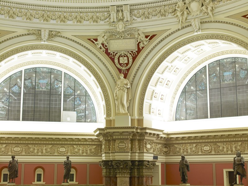 File:Main Reading Room. View of statue representing Philosophy, by Bela Lyon Pratt, on the column entablature between two alcoves. Library of Congress Thomas Jefferson Building, Washington, D.C. LCCN2007687141.tif