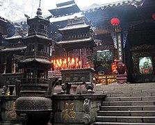 Main altar before Shangqing Temple on Qingchengshan, in Chengdu, Sichuan