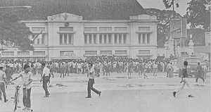"""Malari incident - Crowds on the streets during the 15 January 1974 """"Malari"""" riots"""