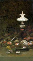 Fruits and kerosene lamp.