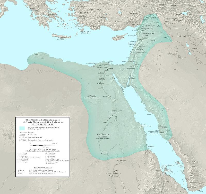 المماليك والعثمانيون: قصة التحالف قبل المواجهة في موقعة مرج دابق 800px-Mamluk_Sultanate_of_Cairo_1317_AD