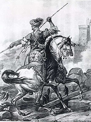 History of slavery in the Muslim world - A Mamluk cavalryman, drawn in 1810
