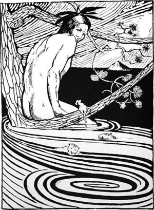 Nanabozho - Nanabozho in the flood. (Illustration by R.C. Armour, from his book North American Indian Fairy Tales, Folklore and Legends, 1905)