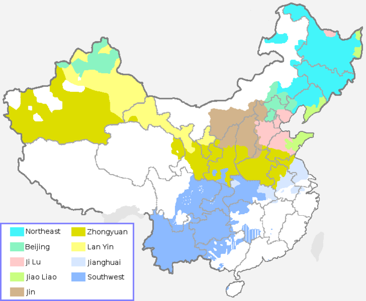 Distribution of the eight subgroups of Mandarin plus Jin Chinese, which many linguists include as part of Mandarin, according to the Language Atlas of China (1987) Mandarin subgroups and Jin group.png