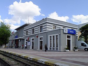 Manisa railway station - The Art Deco station building in 2012.