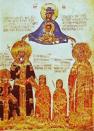 Helena Dragaš - A miniature from the Louvre MS. Ivoires 100 manuscript, depicting the Byzantine emperor Manuel II Palaiologos, empress Helena and three of their sons - the co-emperor John VIII and the Despots Theodore and Andronikos.