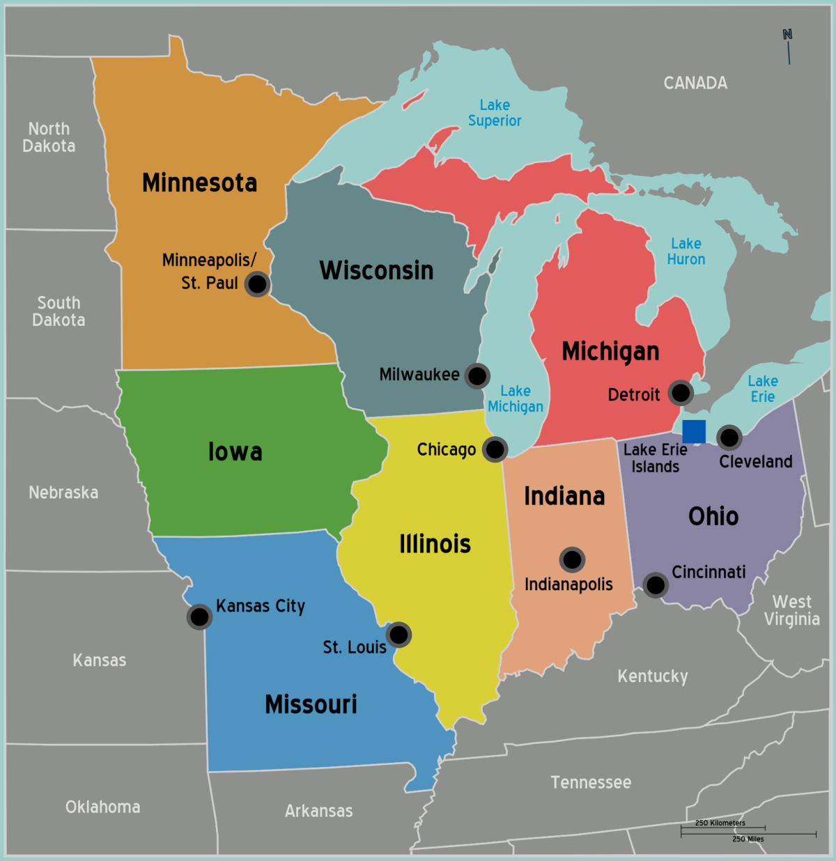 Midwest  Travel Guide At Wikivoyage - Map us midwest states