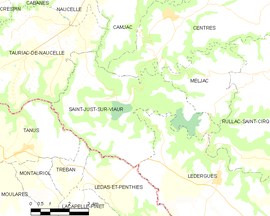 Mapa obce Saint-Just-sur-Viaur