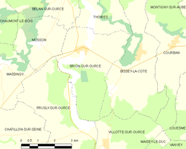 Mapa obce Brion-sur-Ource
