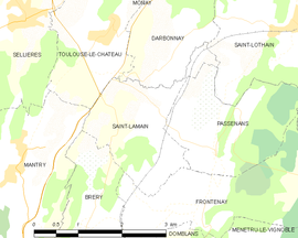 Mapa obce Saint-Lamain