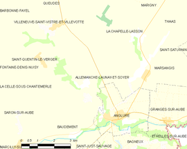 Mapa obce Allemanche-Launay-et-Soyer